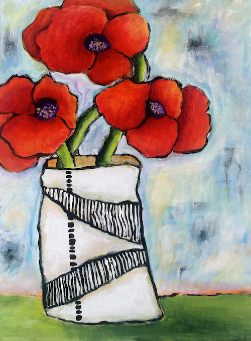 red poppies,painting,</p> <p 9 x 12 inches, spring.